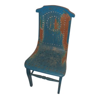 Blue Distressed Country Child's Chair