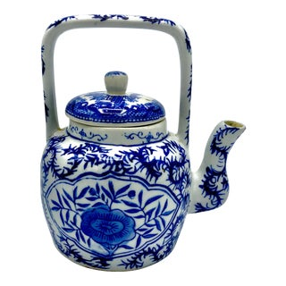 Mid Century Chinese Blue and White Teapot