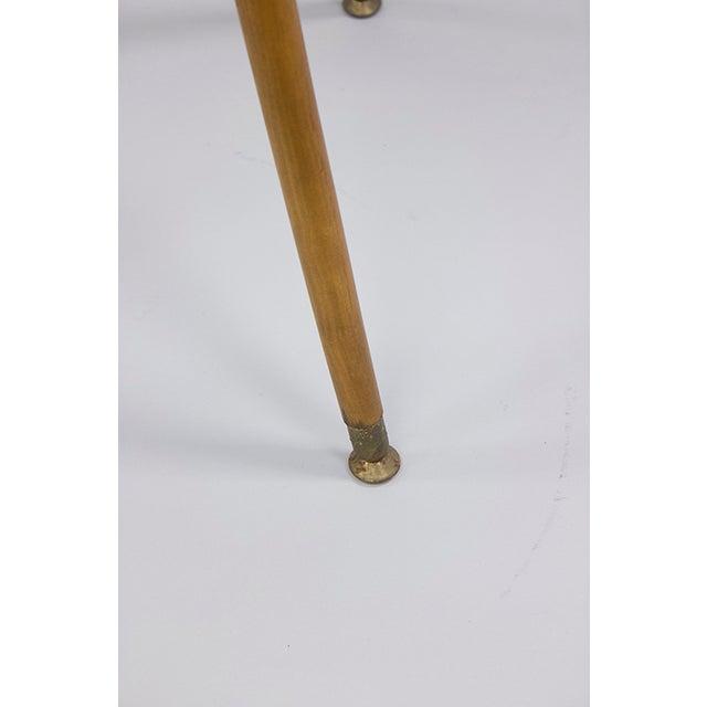 Mid-century Black Laminate & Tall Wood Side Table - Image 4 of 4
