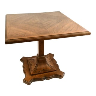 Drexel Esperanto Pecan Pedestal Side Tables - a Pair