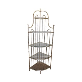 Hollywood Regency Faux Bamboo Gilt Metal Etagere