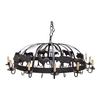 Large Iron Farm Animal Themed Pot Rack Chandelier