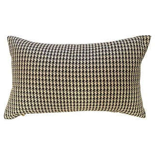 Woven Black & White Houndstooth Pillow