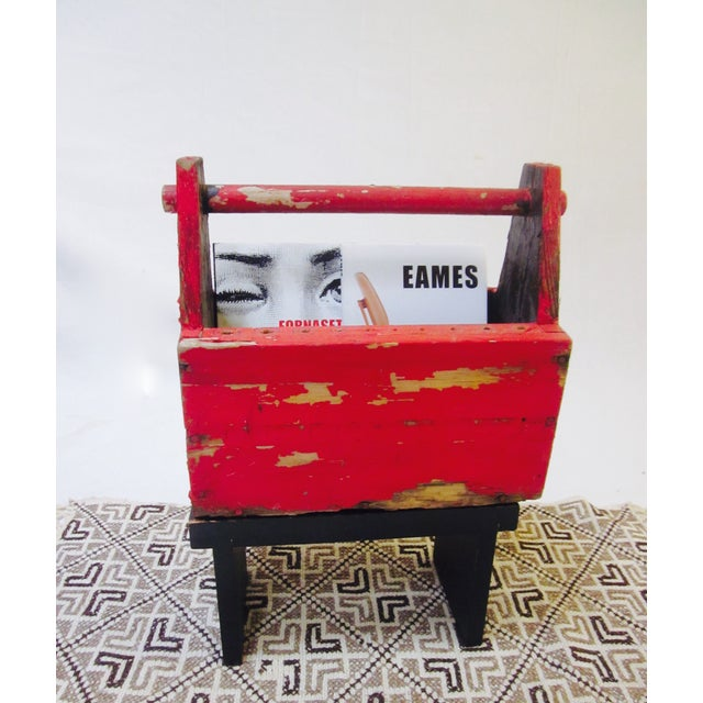 Rustic Red Tool Box Carrier Caddy - Image 4 of 7
