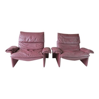 Saporiti Leather Lounge Chairs - A Pair