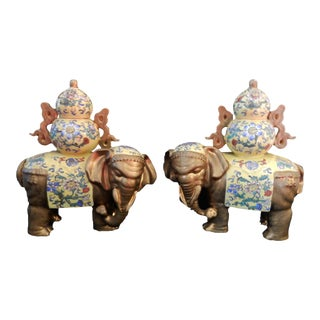 Famille Jaune Style Elephants - a Pair