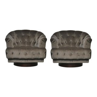 Dunbar Tufted Swivel Lounge Chairs, Edward Wormley