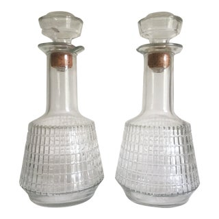 Vintage Mid Century Modern Square Cut Glass Decanters - a Pair