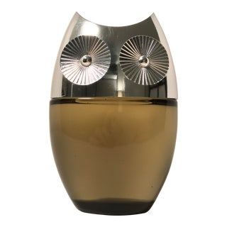 Chrome & Glass Modernist Owl Aftershave Bottle