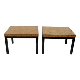Milo Baughman Burl Wood Side/ End Tables - A Pair