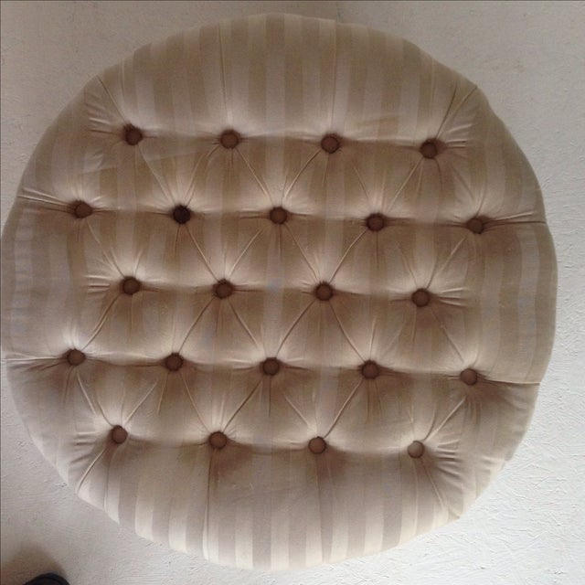 Tufted & Skirted Off White Ottoman - Image 4 of 5