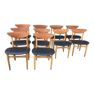 Teak & Oak Dining Chairs - Set of 10