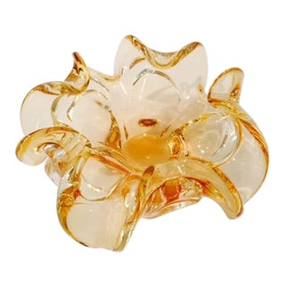 Yellow Art Glass Floral Dish