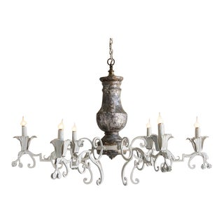Massive Vintage French Silvered Wood and Iron Chandelier circa 1930