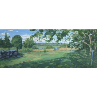 """Stephen Remick Landscape. View to the River, 16"""" X 40""""."""