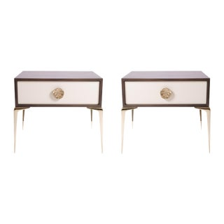 Colette Brass Nightstands in Ebony & Ivory by Montage, Pair
