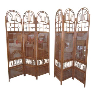 Tortoise Shell Bamboo Screens - A Pair