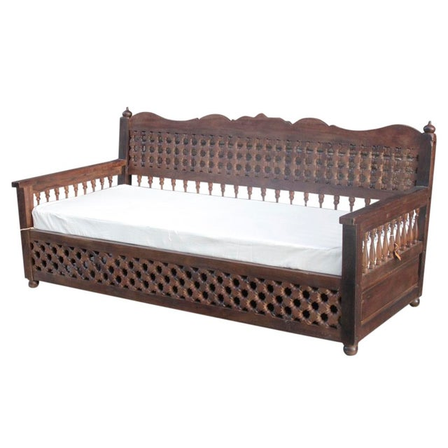 Hand-Carved Mousharabi Daybed - Image 5 of 6