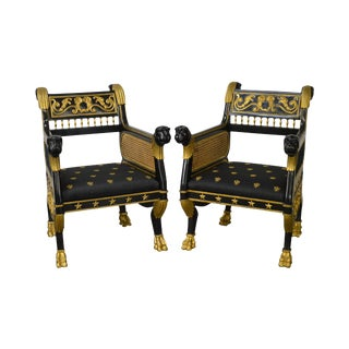Regency Style Ebonized & Partial Gilt Lion Head Arm Chairs - A Pair