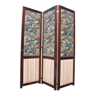 Antique Fabric Covered Folding Screen