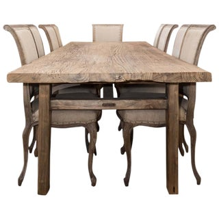 Antique Elm Country Dining Table with Ten Chairs