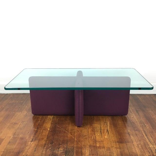 Purple upholstered wool coffee table chairish for Purple coffee table