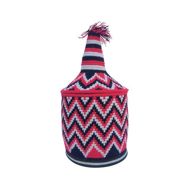 Vintage Red Moroccan Basket - Image 1 of 4