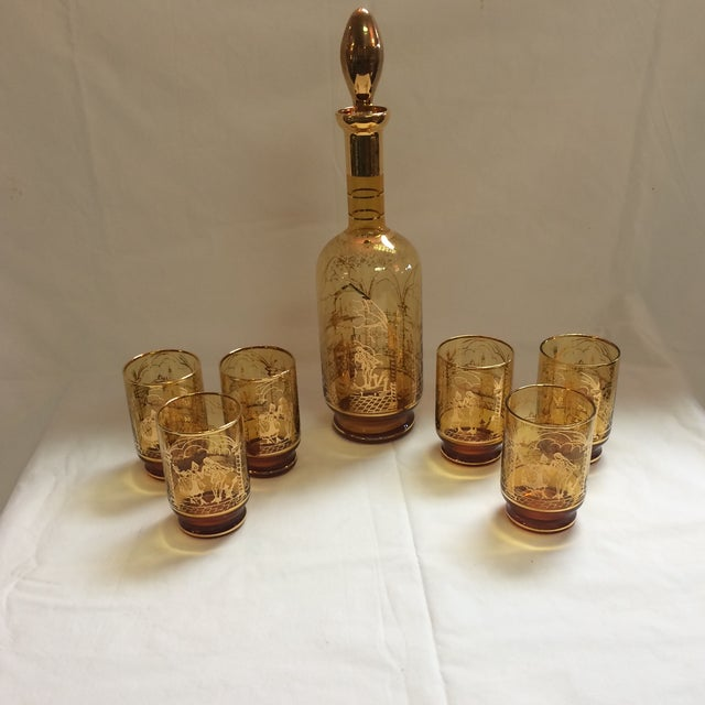 Italian Decanter and Matching Tall Glasses - S/7 - Image 2 of 9