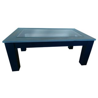Navy Blue Glass Top Coffee Table