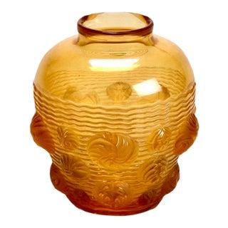Verlys French Amber Art Deco Molded Glass Vase