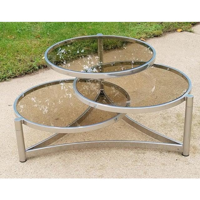 Milo Baughman Tri Level Chrome and Glass Swivel Coffee Table - Image 3 of 11