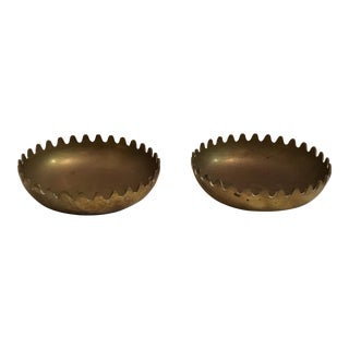 Mid-Century Brass Ashtrays - A Pair