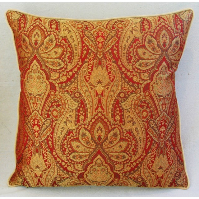 Custom French Jacquard & Velvet Pillows - A Pair - Image 9 of 10