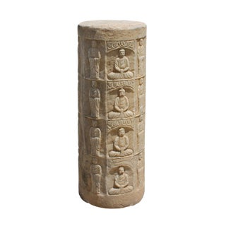 Chinese Distressed Stone Carved Buddhas Display Pole Statue