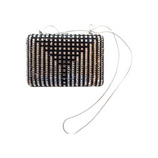 Judith Leiber Black And White Crystal Minaudiere