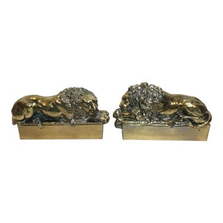 Sculptural Lion Bookends- A Pair