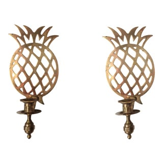 Brass Pineapple Sconces - A Pair