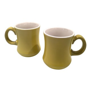 Mid-Century Green Mugs - A Pair