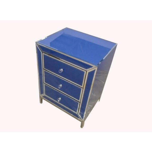 Contemporary Blue Bedside End Table - Image 4 of 7