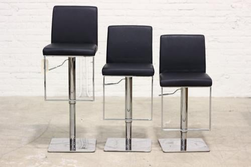 Bar Stools With Polished Metal Bases Set Of 3 Chairish