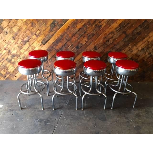 Mid-Century Chrome Diner Bar Stools- Set of 8 - Image 2 of 8