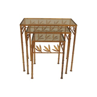 Italian Gilt Iron Faux Bamboo Nesting Tables