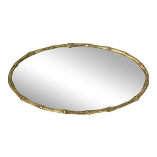 Gilt Metal Faux Bamboo Mirrored Tray