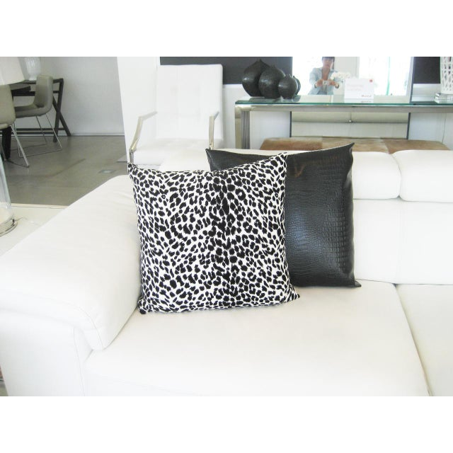 Black & White Leopard Print Pillow - Image 3 of 4