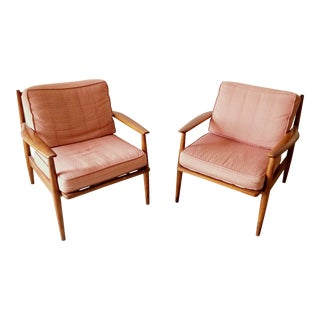 Danish Modern Baumritter Lounge Chairs - A Pair