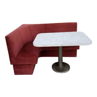 Lux Velvet Bar Booth With Formica Top Faux Marble Table