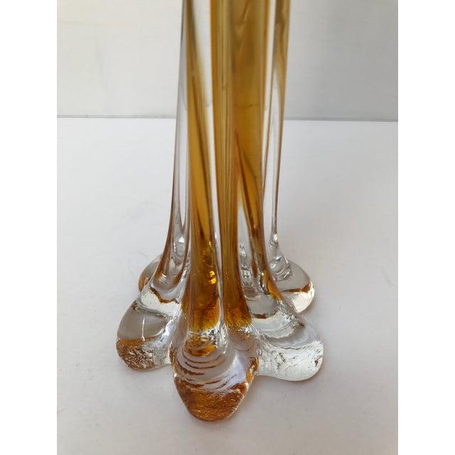 Amber Glass Art Tall Vase - Image 3 of 5