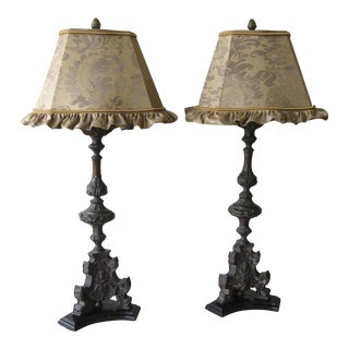 Antique Cast Metal Lamps With Fortuny Shades - A Pair