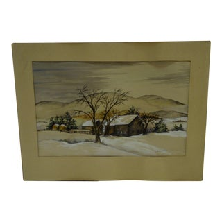 "L. Niedsathel ""The Farm"" Original Watercolor Painting"