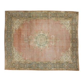 "Traditional Distressed Kerman Carpet - 12'9"" X 16'1"""